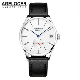 Agelocer Luzern SS/White/Leather - A3350 Auto