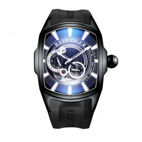 Aurora III Tank 5 Automatic Watch All Black Rubber Strap Watch Blue Dial