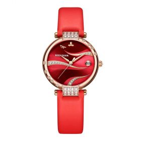 Love Saturn Rose Gold Red Dial Leather Strap Watch