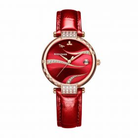 Love Saturn Rose Gold Case Red Dial Leather Strap Watch