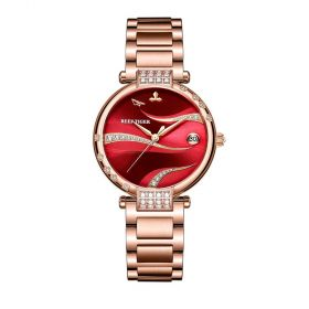 Love Saturn Rose Gold Case Stainless Steel Red Dial Watch