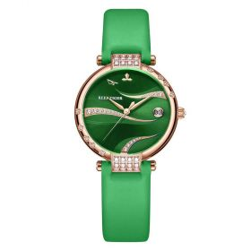 Love Saturn Rose Gold Green Dial Leather Strap Watch