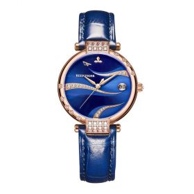 Love Saturn Rose Gold Case Blue Dial Leather Strap Watch