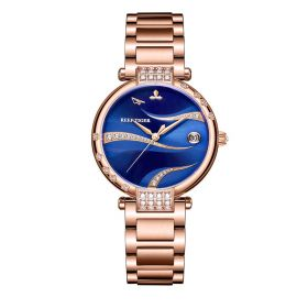 Love Saturn Rose Gold Case Stainless Steel Blue Dial Watch