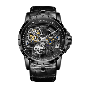 OBLVLO RM Men Watch Top Luxury Waterproof Watch Skeleton Black Dial Calfskin Strap Watches