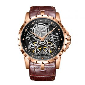 OBLVLO RM Mens Automatic Watches Rose Gold Skeleton Watch Brown Leather Strap Watches