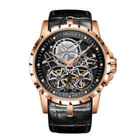 OBLVLO RM Mens Automatic Watches Rose Gold Skeleton  Dial Watch Black Leather Strap Watches