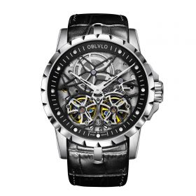 OBLVLO RM Mens Automatic White Skeleton Watch Black Leather Strap Watches