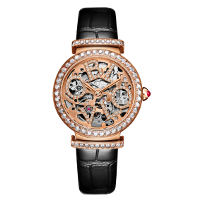 OBLVLO BW Women Rose Gold  Skeleton Dial Automatic Watches Ladies Wrist Watches