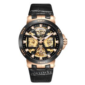 OBLVLO Rose Gold Automatic Watches Skeleton Dial Leather Strap Watch UM-UM-TBG