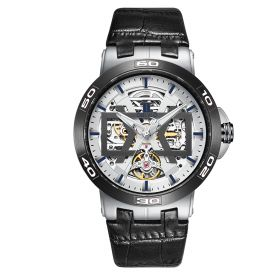 OBLVLO Steel Automatic Watches Skeleton Dial Leather Strap Watch UM-TWB