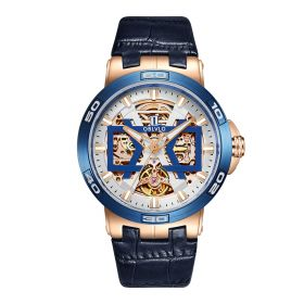 OBLVLO Rose Gold Automatic Watches Skeleton Dial Leather Strap Watch UM-TLP