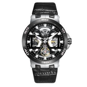 OBLVLO Steel Automatic Watches Skeleton Dial Leather Strap Watch UM-TBB