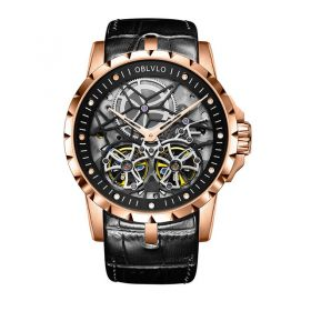 OBLVLO RM Mens Automatic Watches Rose Gold Skeleton Watch Black Leather Strap Watches