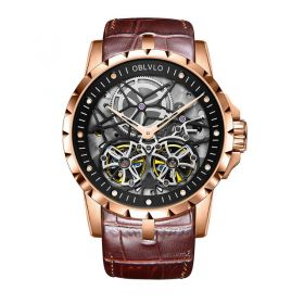 OBLVLO RM Mens Automatic Watches Rose Gold Skeleton Dial Brown Leather Strap Watches