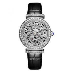 OBLVLO BW Women white  Skeleton Dial Automatic Watches Ladies Wrist Watches