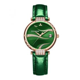 Love Saturn Rose Gold Case Green Dial Leather Strap Watch