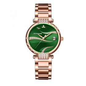 Love Saturn Rose Gold Case Stainless Steel Green Dial Watch