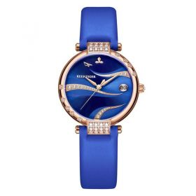 Love Saturn Rose Gold Blue Dial Leather Strap Watch