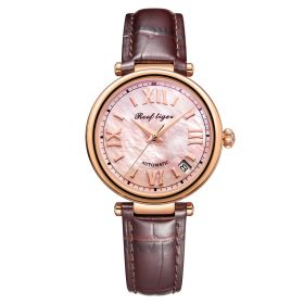 Love Melody & Luthier Rose Gold Pink Dial Automatic Leather Ladies Watch RGA1595
