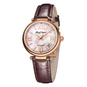 Love Melody & Luthier Rose Gold White Dial Automatic Leather Ladies Watch RGA1595