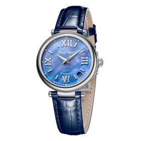 Love Melody & Luthier Steel Blue Dial Automatic Leather Ladies Watch RGA1595