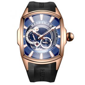 Aurora III Tank 5  Automatic Watch Rose Gold Case Blue Dial Rubber Strap