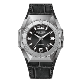Aurora Black Shark Sport Watches Steel Automatic Mechanical Watch Leather Strap RGA6903