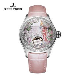 Aurora Parrot SS Diamonds/Pink/LE - Reef Tiger 5900 Automatic